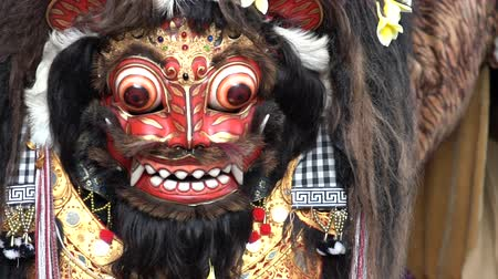 4 in 1 Close up of an animal mask dance during a ritual called Barong in Bali. Considered a native Balinese dance. Represent either ancestral or natural spirits. Footage in normal and slow motion. Stock Footage