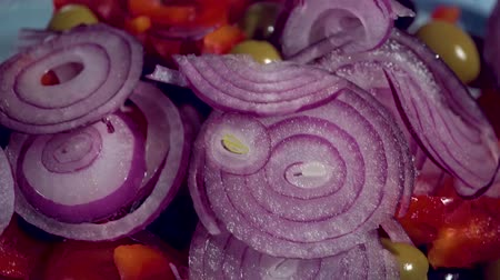 фета : fresh blue onion into the bowl salad tomato, cucumber, olives drops on kitchen healthy, close up, macro, HD