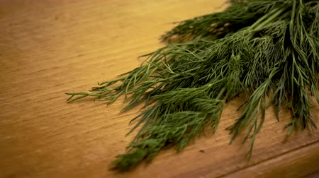 kakukkfű : 4k, Cooking food, Close up of fresh cut fennel on wooden board. Close up of fresh dill on wooden board. Preparation salad. Food ingredients. copy space