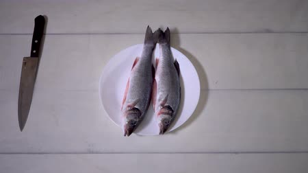 ingrediente : 4K, Cooking of three sea bass on white table. Cook preparing fresh fish for baking.
