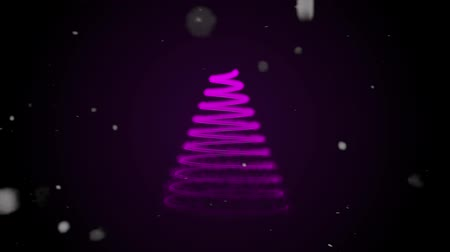 kardan adam : Christmas tree forming with particle on snow background. Stock video Particle Christmas Tree Animation, HD Stok Video