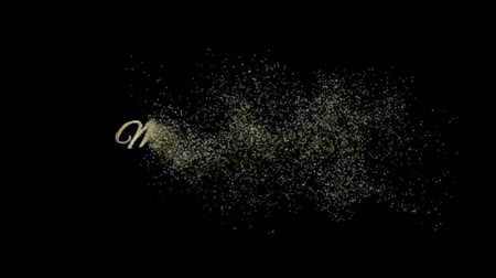Marry Christmas Text On Black Background, Particles Looping 2D Animation, Magic Particles & Sparks Night star sky for Celebration, Wishes, Events, Message, holiday, festival Stok Video