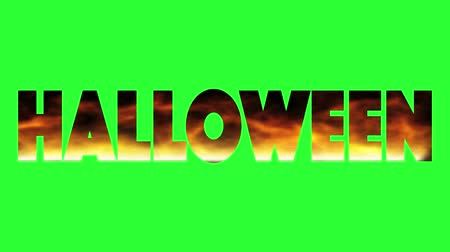 The fire inscription with word Halloween burn. The concept horror day. Loop opening animation introduction with hot burning text on realistic fire flames isolated on green background.