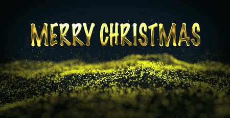 Marry Christmas, christmas golden light shine particles bokeh loopable on black background, Cyber or technology digital landscape background. Golden glitter background Stok Video