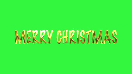 Merry Christmas golden text, Christmas animation, Merry Christmas Titles on green screen background