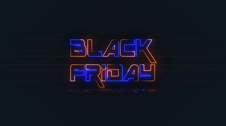 Black Friday Animated Video For Marketing Discount Promotion, Sale Banner in Night Club Bar Blinking Neon Sign Style.