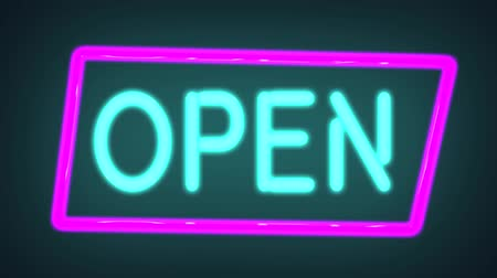 Neon sign of the word OPEN switch on with a flicker, Neon advertising Big Discounts,Sale,Neon Ticker with Arrow,Big Sale,background, Looped animation