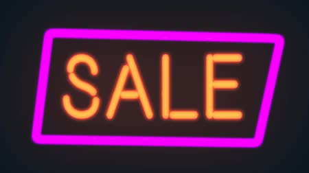 Neon sign of the word SALE with glowing purple colorful light and flicker, Neon advertising Big Discounts,Sale,Neon Ticker with Arrow,Big Sale,background, Looped animation Stok Video
