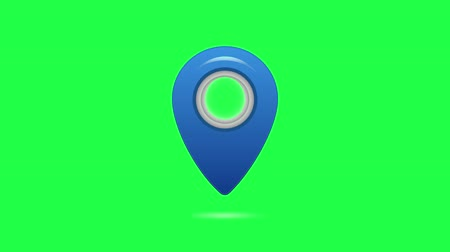 blue pinpoint symbol on green screen, Map pin flat design style modern icon. Simple blue pointer minimal symbol. Marker sign.