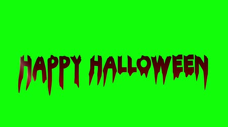 Blood Happy Halloween, HAPPY HALLOWEEN - text animation with red letters over black background