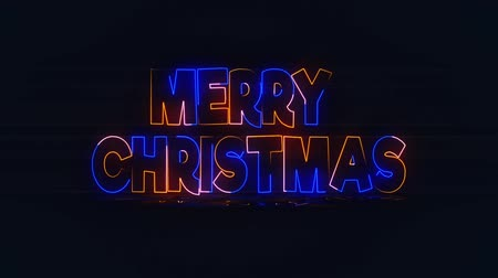 Text Merry christmas by neon lights. Merry christmas neon sign fluorescent light glowing on banner. Merry Christmas Happy New Year Neon Sign