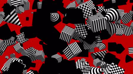 ポリゴン : Seamless Loop Black and White Geometric Elements Red Background with Alpha Matte 動画素材