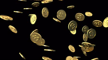 waluta : Seamless Loop Gold Dollar Coins Falling 4K Size Footage with Alpha Matte