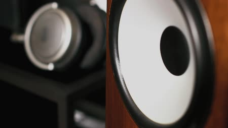 Closeup of loudspeaker in action