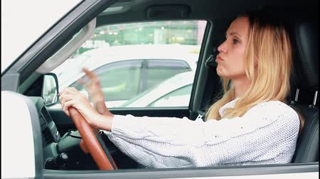 Stressed woman driver in traffic jam Stok Video