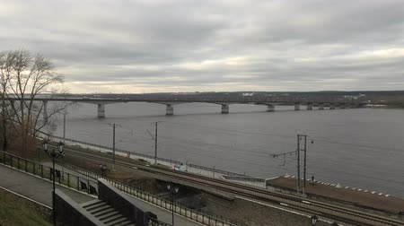 Bridge over Kama river in Perm, Russia