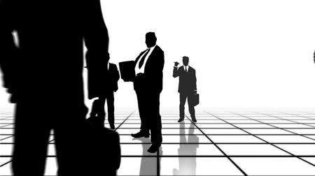 walkthrough : Black and white grid with business people