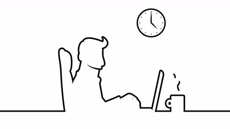 perfil : Man working at desk with notebook. 4K loopable line art animation including alpha matte. Stock Footage