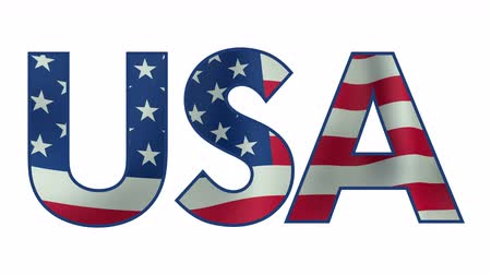 north america : USA text with waving flag animation with alpha matte