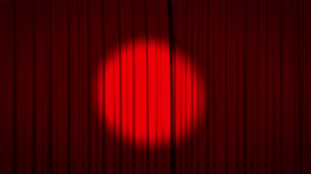perdeler : Red curtain with spotlight opening Stok Video