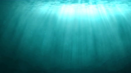 serene : Underwater scene with rays of sunlight shining down through the water surface. At the bottom, a rocky ocean floor is visible. Loopable animation.