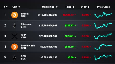 gaining : Computer screen showing a list of fluctuating prices and market caps of several cryptocurrencies. Frontal view. Dark gray background version. Stock Footage