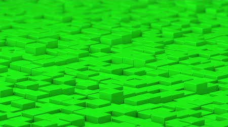 bobbing : Green cubes moving up and down in a random pattern. 3D animated motion background loop. Stock Footage