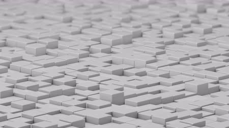 bobbing : White cubes moving up and down in a random pattern. 3D animated motion background loop. Stock Footage