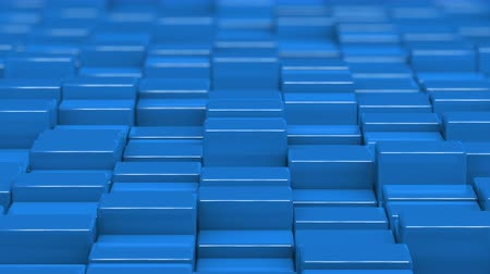 soothing : Blue cubes moving up and down in a random pattern. 3D animated motion background loop.