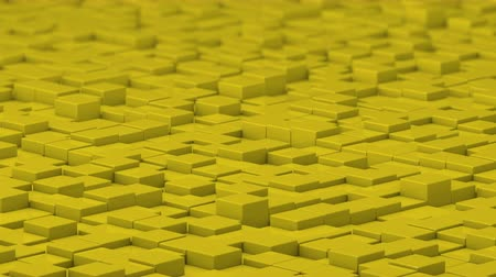 bobbing : Yellow cubes moving up and down in a random pattern. 3D animated motion background loop.