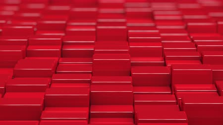 bobbing : Red cubes moving up and down in a random pattern. 3D animated motion background loop. Stock Footage