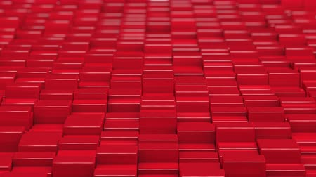 なだめる : Red cubes moving up and down in a random pattern. 3D animated motion background loop. 動画素材