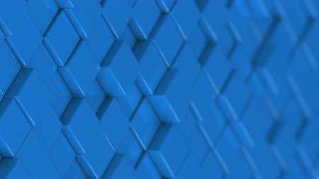 bobbing : Wall of blue cubes moving in a random pattern. 3D animated motion background loop. Stock Footage