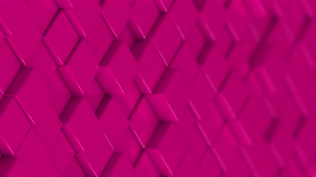bobbing : Wall of pink cubes moving in a random pattern. 3D animated motion background loop. Stock Footage