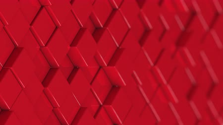 bobbing : Wall of red cubes moving in a random pattern. 3D animated motion background loop. Stock Footage