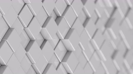 bobbing : Wall of white cubes moving in a random pattern. 3D animated motion background loop. Stock Footage