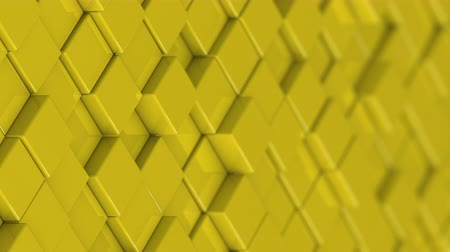 bobbing : Wall of yellow cubes moving in a random pattern. 3D animated motion background loop.