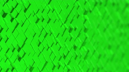bobbing : Wall of green cubes moving in a random pattern. 3D animated motion background loop.