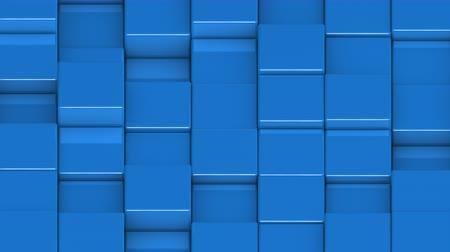 bobbing : Blue cubes moving up and down in a random pattern. 3D animated motion background loop. Isometric view.