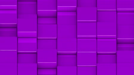 фиолетовый : Purple cubes moving up and down in a random pattern. 3D animated motion background loop. Isometric view. Стоковые видеозаписи