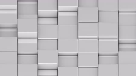 bobbing : White cubes moving up and down in a random pattern. 3D animated motion background loop. Isometric view.