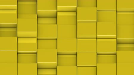 bobbing : Yellow cubes moving up and down in a random pattern. 3D animated motion background loop. Isometric view.