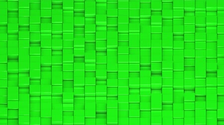 bobbing : Green cubes moving up and down in a random pattern. 3D animated motion background loop. Isometric view.