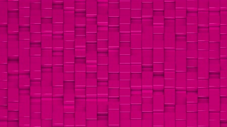 bobbing : Pink cubes moving up and down in a random pattern. 3D animated motion background loop. Isometric view. Stock Footage