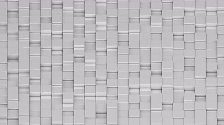 acalmar : White cubes moving up and down in a random pattern. 3D animated motion background loop. Isometric view.
