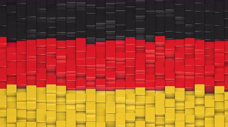 bobbing : German flag made of cubes moving up and down in a random pattern. 3D animated motion background loop.