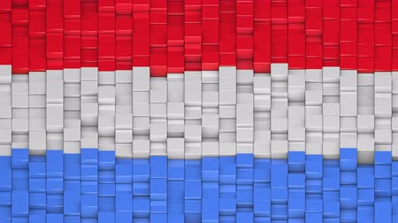 bobbing : Luxembourgish flag made of cubes moving up and down in a random pattern. 3D animated motion background loop. Stock Footage