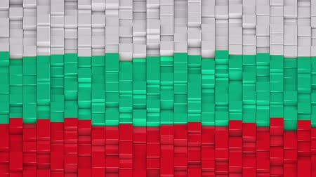 búlgaro : Bulgarian flag made of cubes moving up and down in a random pattern. 3D animated motion background loop.