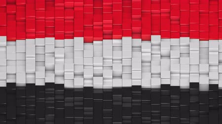 yemen : Yemeni flag made of cubes moving up and down in a random pattern. 3D animated motion background loop.