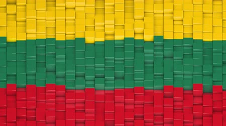 flag of lithuania : Lithuanian flag made of cubes moving up and down in a random pattern. 3D animated motion background loop.